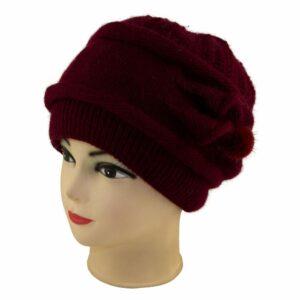 Женская шапка цветок S 18-165-0 Бордовый