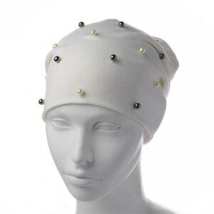 Молодежная шапка чулок с жемчугом