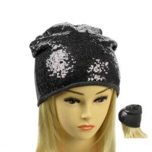 Молодежная шапка с пайеткой