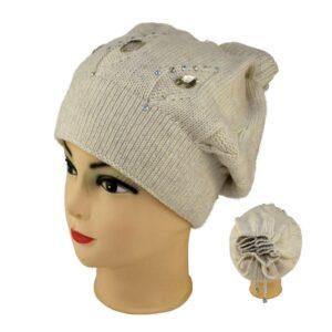 Молодежная шапка с камнями