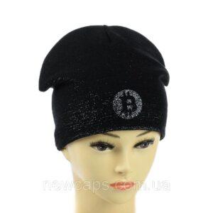 """Подростковая шапка с люрексом для девочек """"Bitkoin"""" NCP-028"""