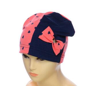 Детская шапка двух цветная с бантом для девочек NCG-009