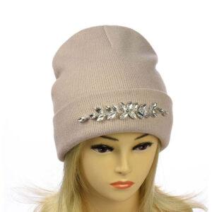 """Женская шапка с отворотом """"Стеклярус"""" MS 19-023"""
